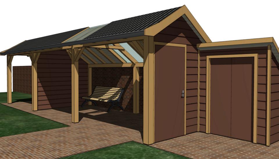 3D-visualisatie landelijke veranda